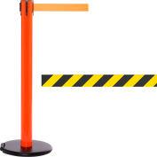 Orange Post Safety Barrier, 15 Ft., Yellow/Black Diagonal Striped Belt - W/Roller Base - Pkg Qty 2