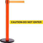 """Orange Post Safety Barrier, 15 Ft., Yellow/Black Belt """"Caution-Do Not Enter""""-W/Roller Base - Pkg Qty 2"""