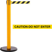 """Yellow Post Safety Barrier, 15 Ft., Yellow/Black Belt """"Caution-Do Not Enter"""" -Roller Base - Pkg Qty 2"""