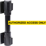 WallPro Twin Black Post Retracting Belt Barrier, 10 Ft. Yellow Authorized Belt