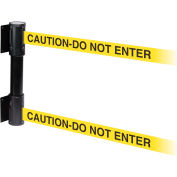 WallPro Twin Black Post Retracting Belt Barrier, 10 Ft. Yellow Caution Belt