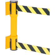 WallPro Twin Yellow Post Retracting Belt Barrier, 15 Ft. Yellow/Black Belt