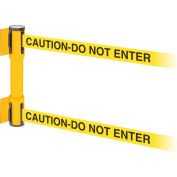 WallPro Twin Yellow Post Retracting Belt Barrier, 15 Ft. Yellow Caution Belt