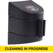 WallPro 450 Black Wall Mount Retracting Barrier, 30' Yellow/Black CLEANING IN PROGRESS Belt
