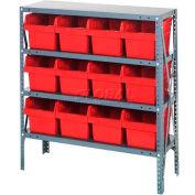 "Quantum 1239-807 Steel Shelving with 12 8""H Plastic Shelf Bins Red, 36x12x39-4 Shelves"