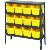 "Quantum 1239-807 Steel Shelving with 12 8""H Plastic Shelf Bins Yellow, 36x12x39-4 Shelves"