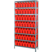 "Quantum 1875-803 Steel Shelving with 56 8""H Plastic Shelf Bins Red, 36x18x75-8 Shelves"