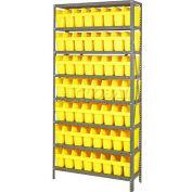 "Quantum 1875-803 Steel Shelving with 56 8""H Plastic Shelf Bins Yellow, 36x18x75-8 Shelves"