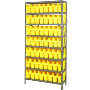 "Quantum 1875-SB803 Steel Shelving with 56 8""H Plastic Shelf Bins Yellow, 36x18x75-SB8 Shelves"