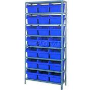 "Quantum 1875-SB810 Steel Shelving with 21 8""H Plastic Shelf Bins Blue, 36x18x75-SB8 Shelves"
