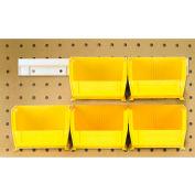 "Quantum HNS200 Hang & Stack Bins w/Two 12"" Rails, Six Bins 4-1/8""W x 5""D x 3""H, Yellow"