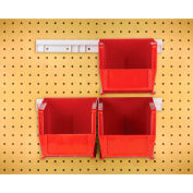 "Quantum HNS230 Hang & Stack Bins w/Two 12"" Rails, Four Bins 5-1/2""W x 10-7/8""D x 5""H, Red"