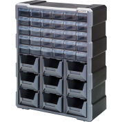 "Quantum Plastic Drawer Cabinet PDC-930BK - 39 Drawers 6-1/4""W x 15""D x 18-3/4""H"