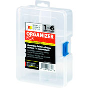 "Quantum QB300 Organizer Box - 1-6 Adjustable Compartments - 6-3/4""L x 4-3/4""W x 2-1/4""H - Pkg Qty 12"