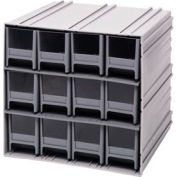 "Quantum Interlocking Storage Cabinet QIC-122 - 11-3/4""Wx11-3/8""Dx11""H - 12 Gray Drawers"