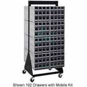 "Quantum QIC-248-64 48""H Double Sided Floor Stand with 96 Gray Drawer Interlocking Storage Cabinet"