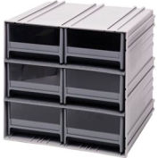 "Quantum Interlocking Storage Cabinet QIC-64 - 11-3/4""Wx11-3/8""Dx11""H - 6 Gray Drawers"