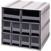 "Quantum Interlocking Storage Cabinet QIC-8224 - 11-3/4""Wx11-3/8""Dx11""H - 10 Gray Drawers"