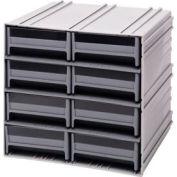"Quantum Interlocking Storage Cabinet QIC-83 - 11-3/4""Wx11-3/8""Dx11""H - 8 Gray Drawers"
