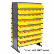 "Quantum QPRD-567 Double Sided Rack 24""x36""x60"" with 88 Yellow Euro Drawers"