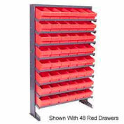 "Quantum QPRS-567 Single Sided Rack 12""x36""x60"" with 44 Red Euro Drawers"