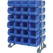 Quantum QRU-12D-240-48 Double Sided 12 Rail Unit With 48 QUS240 Ultra Stack & Hang Bins, Blue