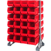Quantum QRU-12D-240-48 Double Sided 12 Rail Unit With 48 QUS240 Ultra Stack & Hang Bins, Red