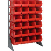 Quantum QRU-12S-240-24 Single Sided 12 Rail Unit With 24 QUS240 Ultra Stack & Hang Bins, Red