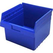 "Quantum Plastic Shelf Storage Bin QSB809 Nestable, 11-1/8""W x 11-5/8""D x 8""H, Blue - Pkg Qty 8"
