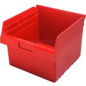 "Quantum Plastic Shelf Storage Bin QSB809 Nestable, 11-1/8""W x 11-5/8""D x 8""H, Red - Pkg Qty 8"