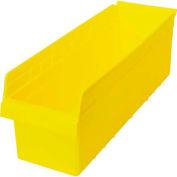 """Quantum Nesting Storage Bin QSB814 Plastic, 8-3/8""""W x 23-5/8""""D x 8""""H, Yellow - Pkg Qty 6"""