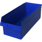 "Quantum Plastic Shelf Storage Bin QSB816 Nestable, 11-1/8""W x 23-5/8""D x 8""H, Blue - Pkg Qty 6"
