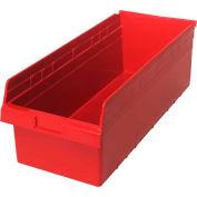 "Quantum Plastic Shelf Storage Bin QSB816 Nestable, 11-1/8""W x 23-5/8""D x 8""H, Red - Pkg Qty 6"