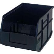 "Quantum Plastic Stackable Shelf Bin SSB423 8-1/4""W x 12""D x 7""H, Black - Pkg Qty 6"