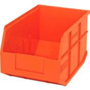 "Quantum Plastic Stackable Shelf Bin SSB423 8-1/4""W x 12""D x 7""H, Orange - Pkg Qty 6"