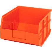 "Quantum Plastic Stackable Shelf Bin SSB425 11""W x 12""D x 7""H, Orange - Pkg Qty 6"