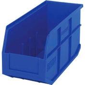 "Quantum Plastic Stackable Shelf Bin SSB441 6""W x 14""D x 7""H, Blue - Pkg Qty 12"