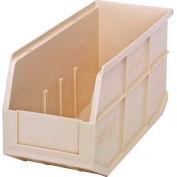 "Quantum Plastic Stackable Shelf Bin SSB441 6""W x 14""D x 7""H, Ivory - Pkg Qty 12"