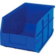 "Quantum Plastic Stackable Shelf Bin SSB443 8-1/4""W x 14""D x 7""H, Blue - Pkg Qty 12"