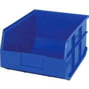 "Quantum Plastic Stackable Shelf Bin SSB445 11""W x 14""D x 7""H, Blue - Pkg Qty 6"