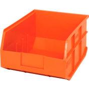 "Quantum Plastic Stacking and Hanging Shelf Bin SSB445 11""W x 14""D x 7""H, Orange - Pkg Qty 6"