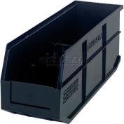 "Quantum Plastic Stackable Shelf Bin SSB461 6""W x 18""D x 7""H, Black - Pkg Qty 6"