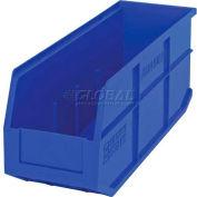 "Quantum Plastic Stackable Shelf Bin SSB461 6""W x 18""D x 7""H, Blue - Pkg Qty 6"