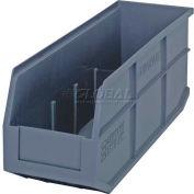 "Quantum Plastic Stackable Shelf Bin SSB461 6""W x 18""D x 7""H, Gray - Pkg Qty 6"