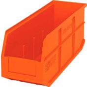 "Quantum Plastic Stackable Shelf Bin SSB461 6""W x 18""D x 7""H, Orange - Pkg Qty 6"