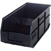 "Quantum Plastic Stackable Shelf Bin SSB463 8-1/4""W x 18""D x 7""H, Black - Pkg Qty 6"