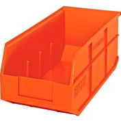 "Quantum Plastic Stackable Shelf Bin SSB463 8-1/4""W x 18""D x 7""H, Orange - Pkg Qty 6"
