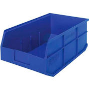 "Quantum Plastic Stackable Shelf Bin SSB465 11""W x 18""D x 7""H, Blue - Pkg Qty 6"