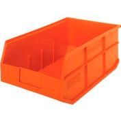 "Quantum Plastic Stackable Shelf Bin SSB465 11""W x 18""D x 7""H, Orange - Pkg Qty 6"