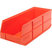 "Quantum Plastic Stackable Shelf Bin SSB483 8-1/4""W x 20-1/2""D x 7""H, Orange - Pkg Qty 6"